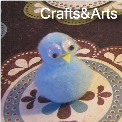 bluebird bird pom-pom craft