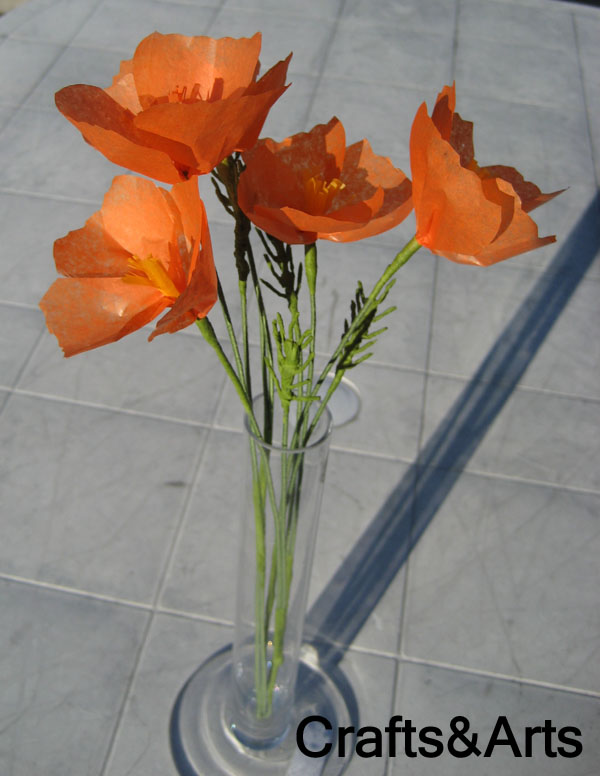 california poppy tissue paper flower handmade