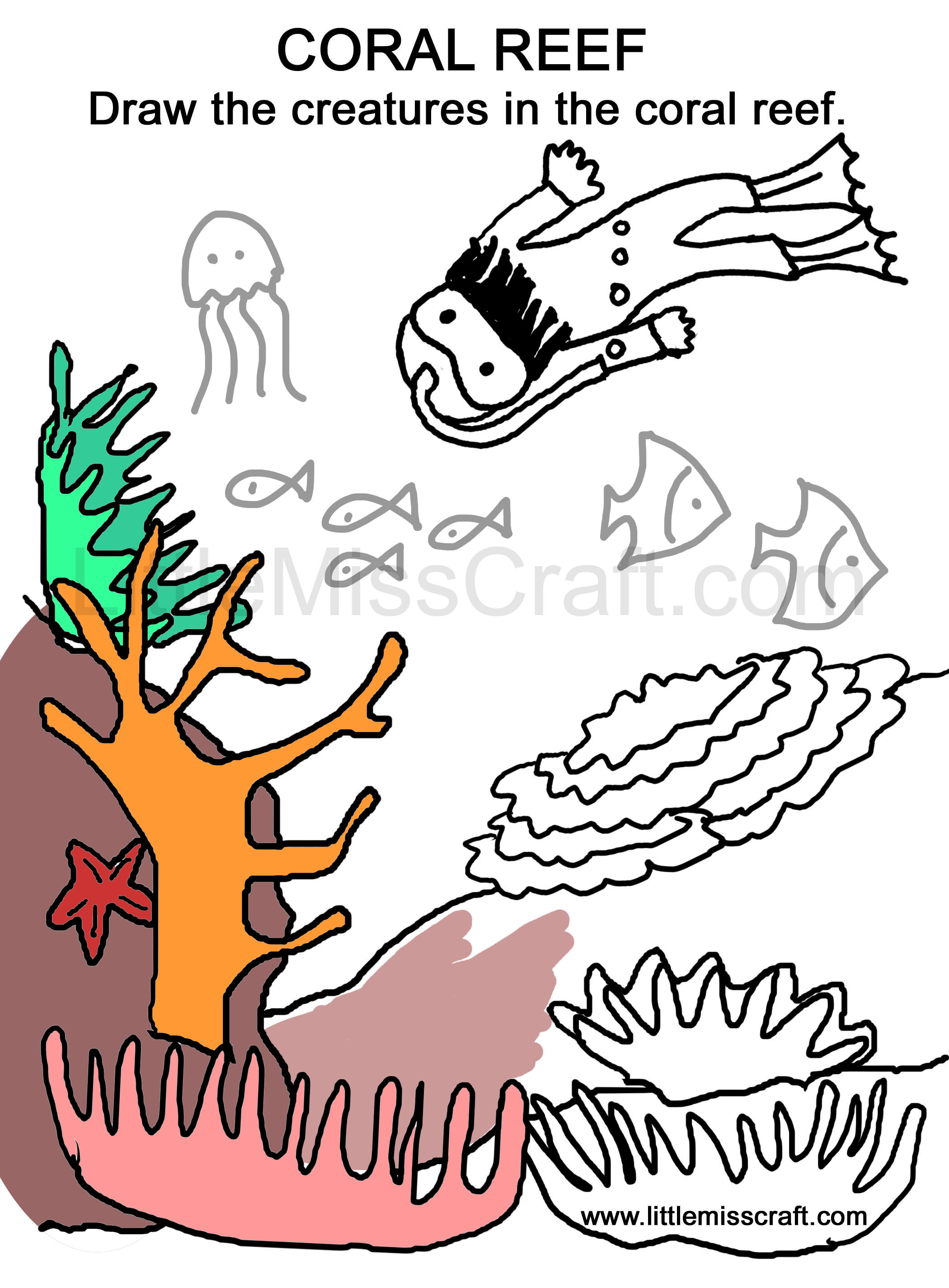 coloring, pages, doodle, drawing, diver, sea, coral reef, treasure
