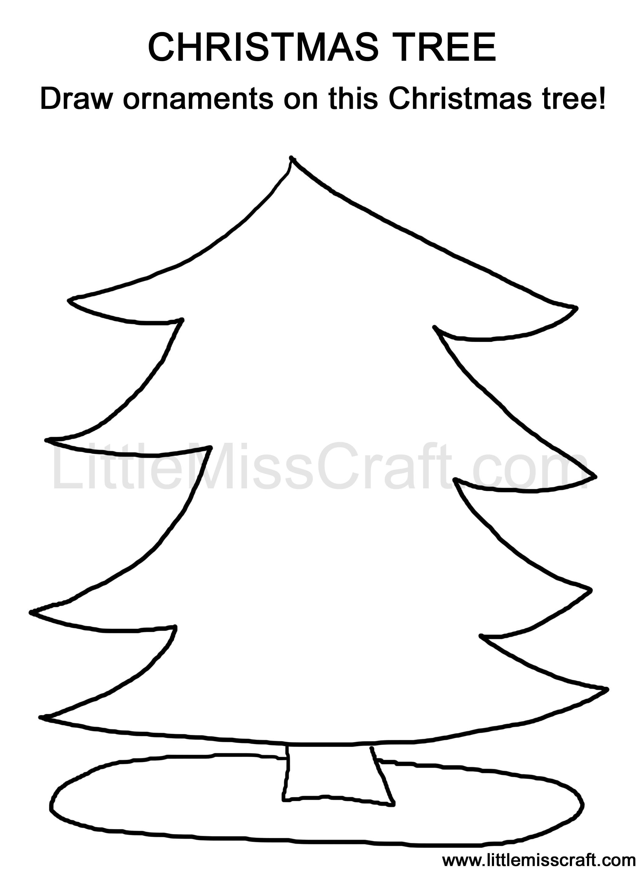 coloring page doodle printable Christmas tree draw ornaments