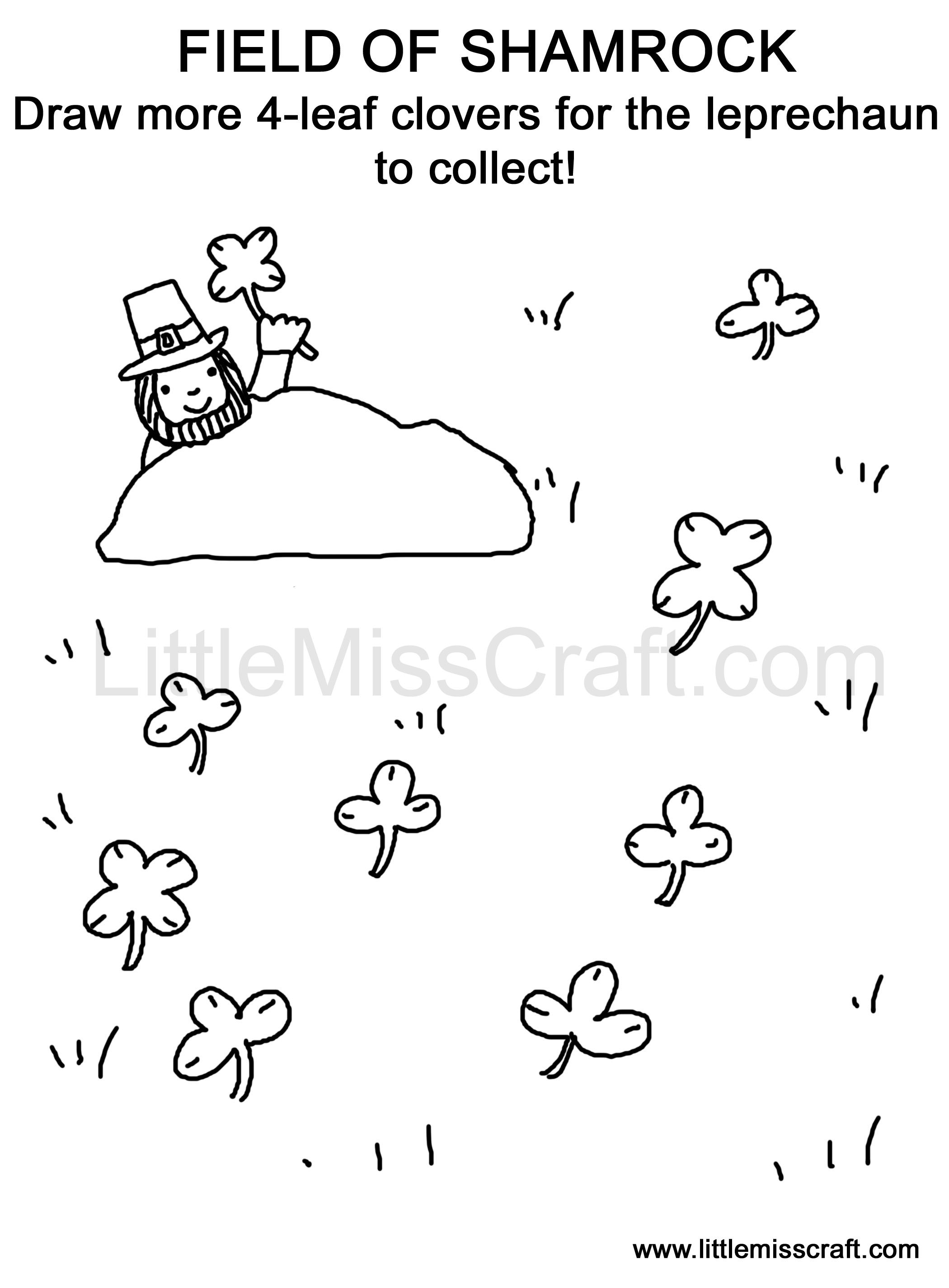 field of shamrock doodle coloring page