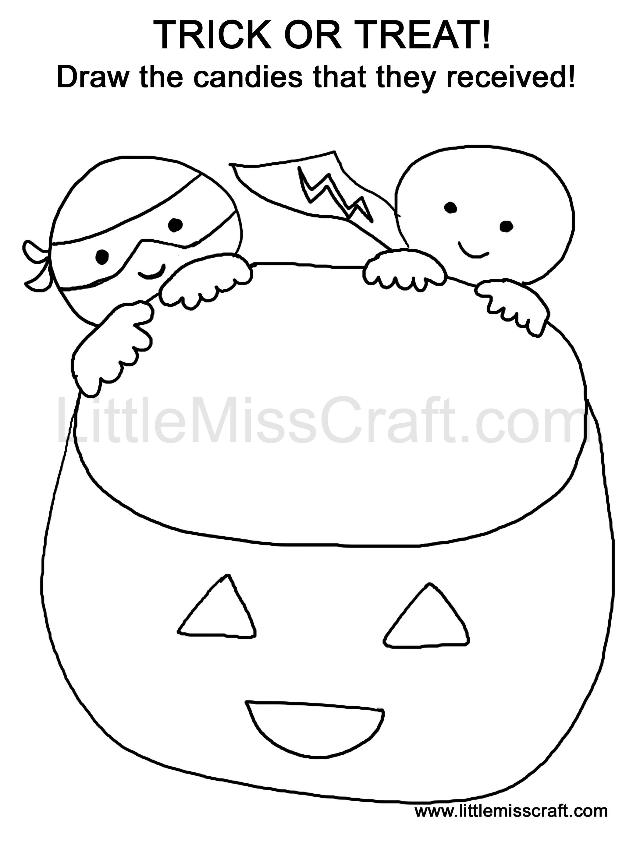 Halloween Trick or Treat Doodle Coloring Page