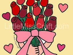 Rose Bouquet Valentine's Day Coloring Page