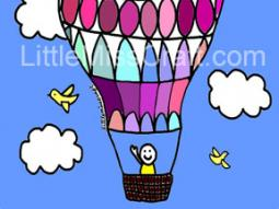 Hot Air Balloon Get Well Coloring Page