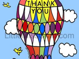 Hot Air Balloon Thank You Coloring Page