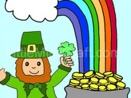 Rainbow and Leprechaun Coloring Page