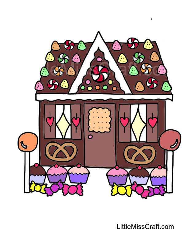 Gingerbread House Coloring Pages Pdf : Crafts gingerbread house coloring page