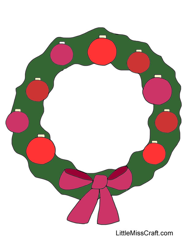 91 Ornament Wreath Coloring Page