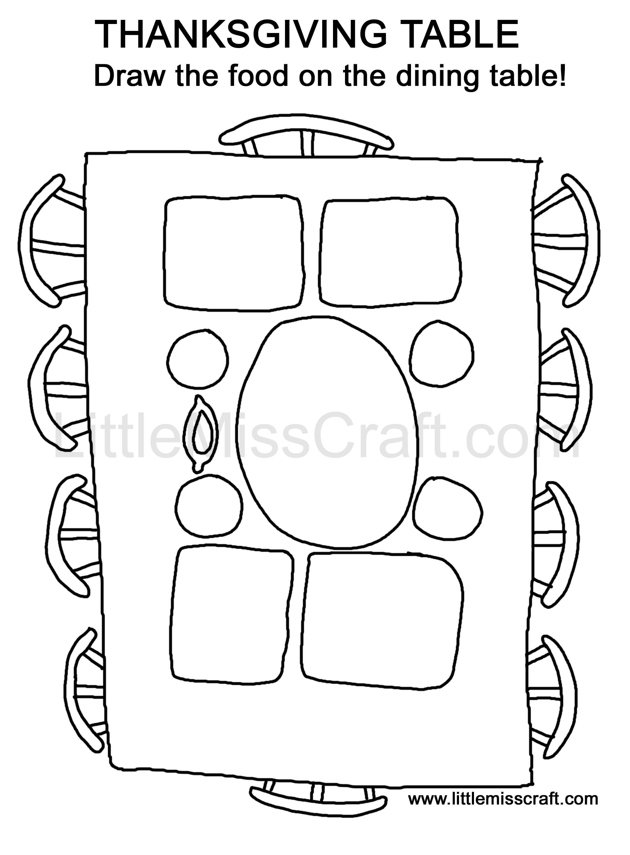 Crafts Thanksgiving Table Doodle Coloring Page - thanksgiving meal coloring pages