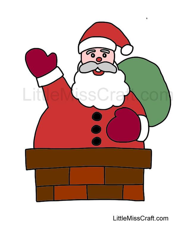 santa chimney coloring page