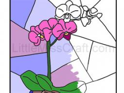 Orchid Stained Glass Coloring Page