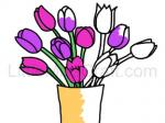 Tulip Bouquet in Vase Coloring Page