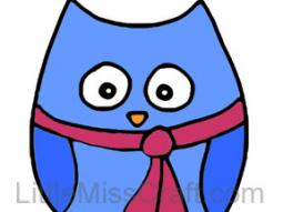 Owl with Scarf Coloring Page