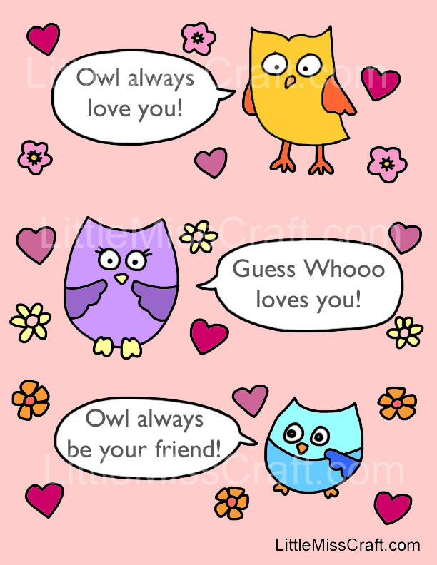 Crafts Valentines Owl Talk Coloring Page