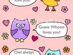 Valentine's Owl Talk Coloring Page