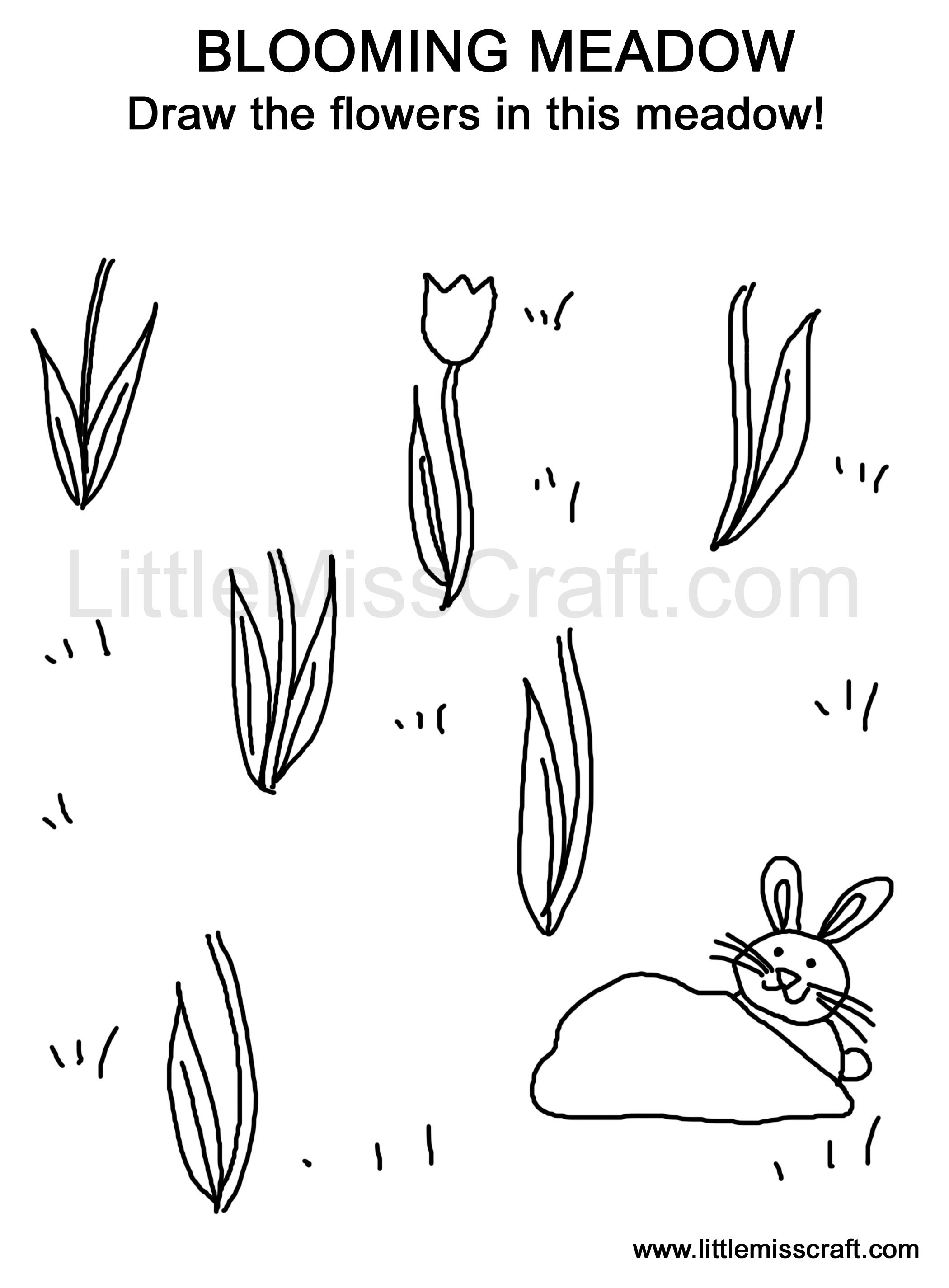 crafts blooming meadow doodle coloring page