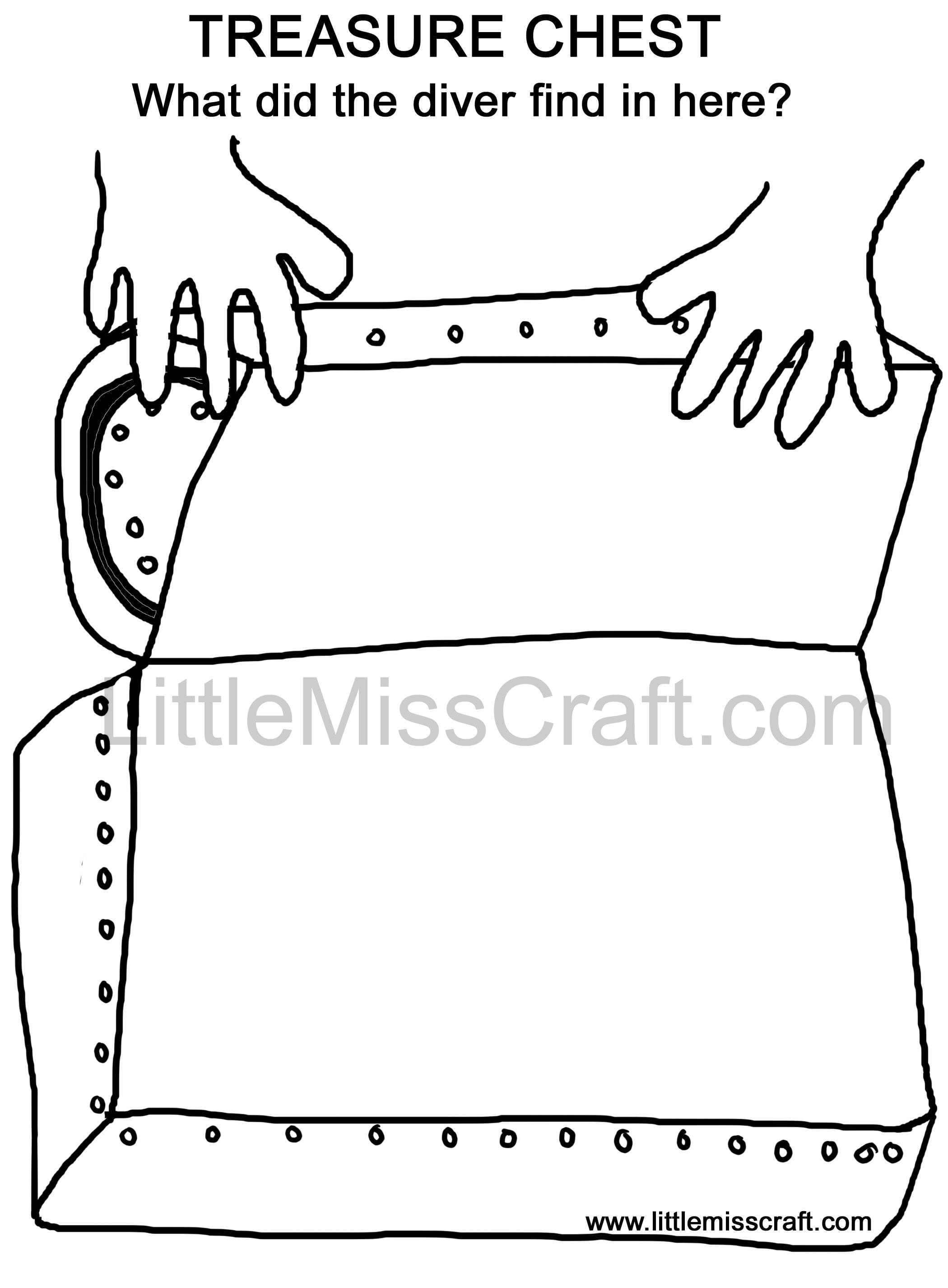 crafts diver treasure chest doodle coloring page