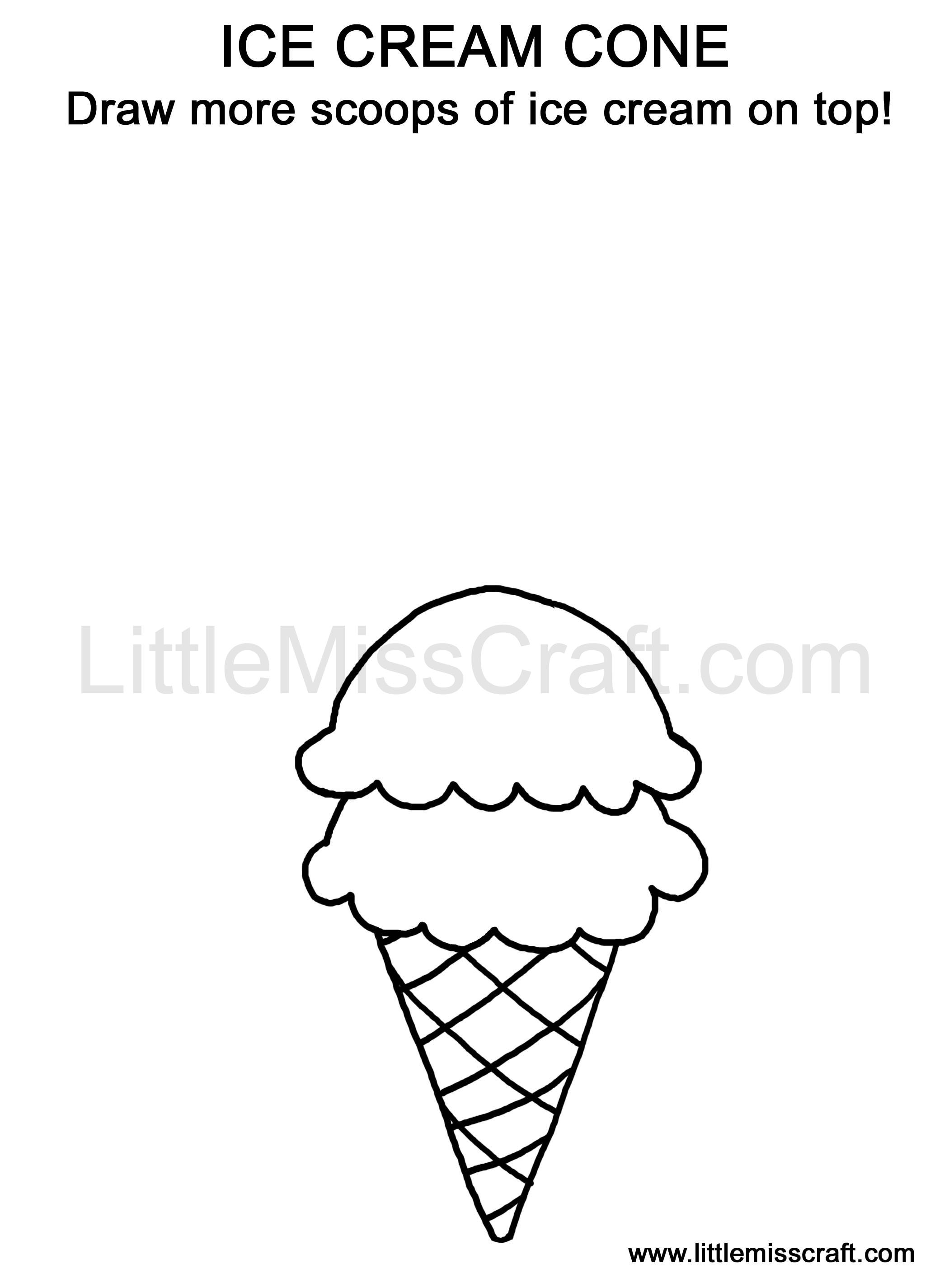 crafts sweets ice cream cone doodle coloring page