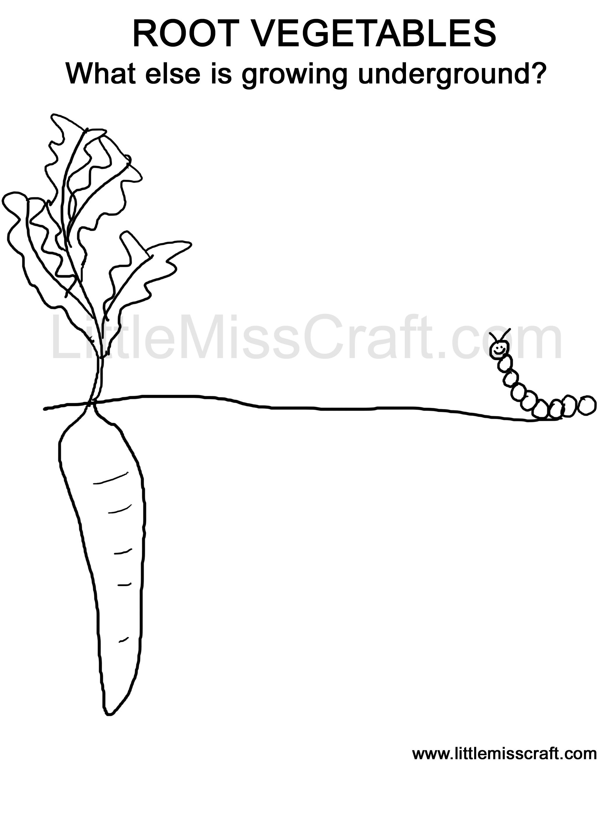 Crafts - Growing Root Vegetables Doodle Coloring Page