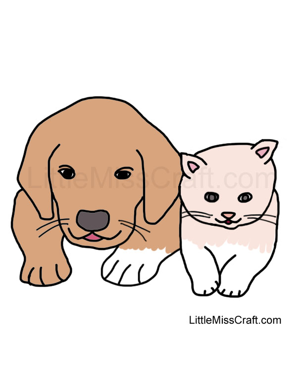 crafts puppy and kitten coloring page