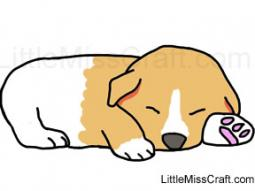 Puppy Sleeping Coloring Page
