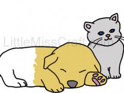 Puppy Sleeping and Kitten Coloring Page