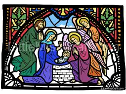 Nativity Angels Stained Glass Coloring Page