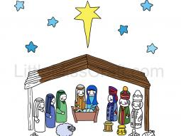 Nativity Shepherds Wise Men Coloring Page