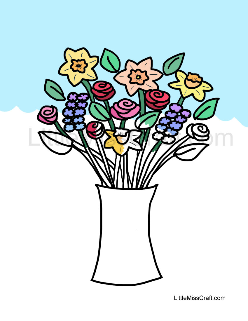 crafts spring flowers in vase coloring page