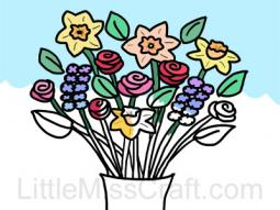 Spring Flowers in Vase Coloring Page