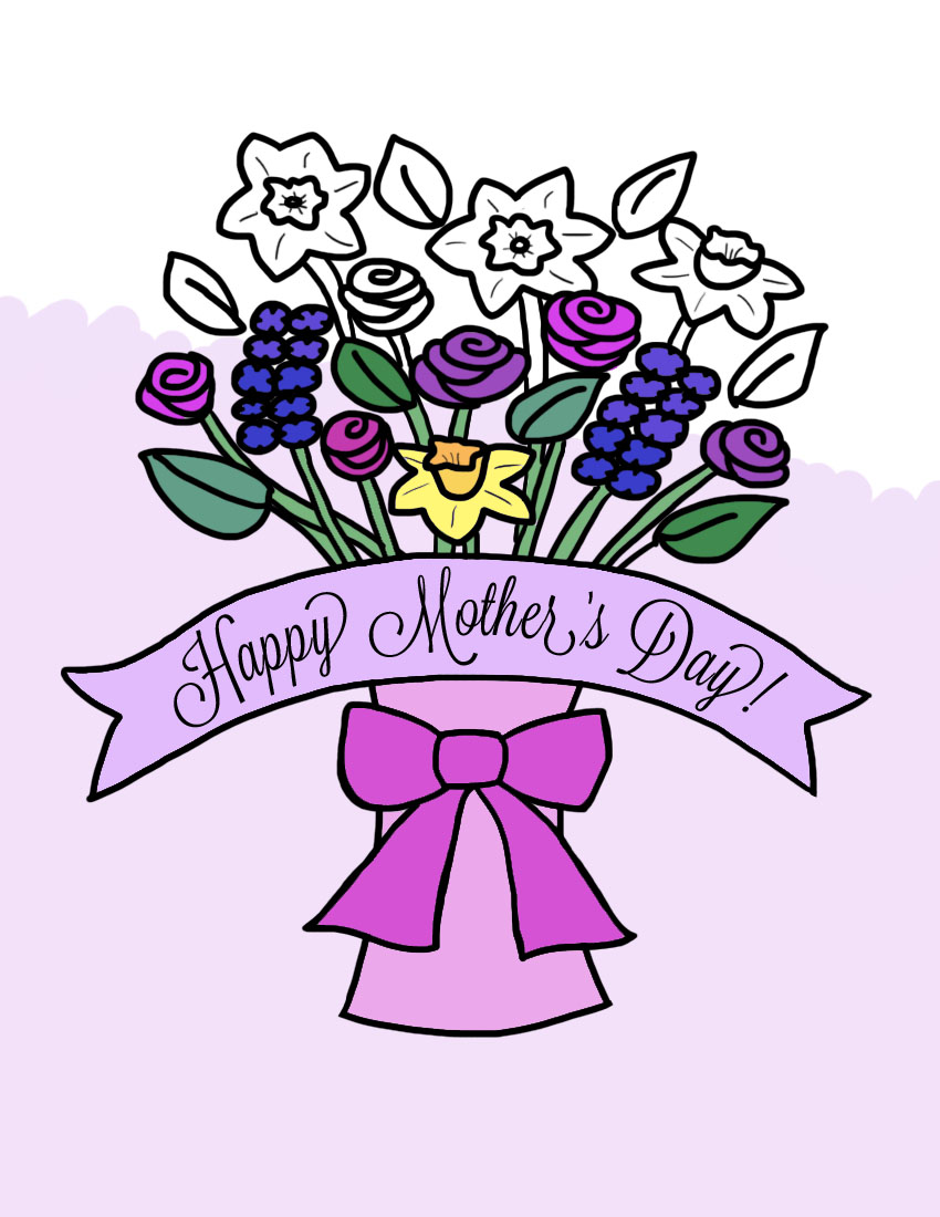 mothers day flower bouquet in vase coloring page