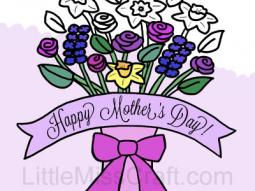 Mother's Day Flower Bouquet in Vase Coloring Page
