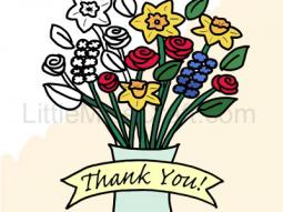Thank You Flowers in Vase Coloring Page