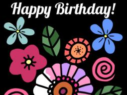 Birthday Simple Flowers Coloring Page