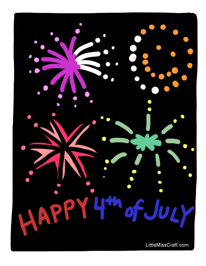 july 4th fireworks coloring page - Firework Coloring Pages Printable
