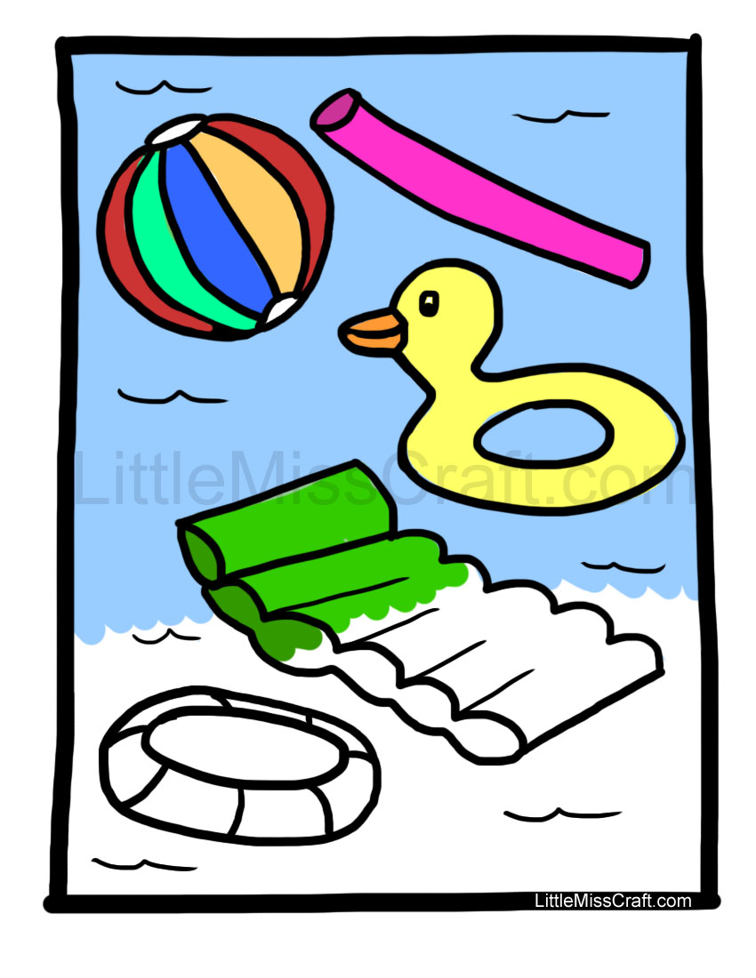 crafts swimming pool fun coloring page