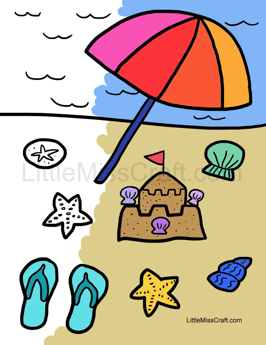 crafts beach fun coloring page