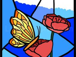 Butterfly on Flower Stained Glass Coloring Page