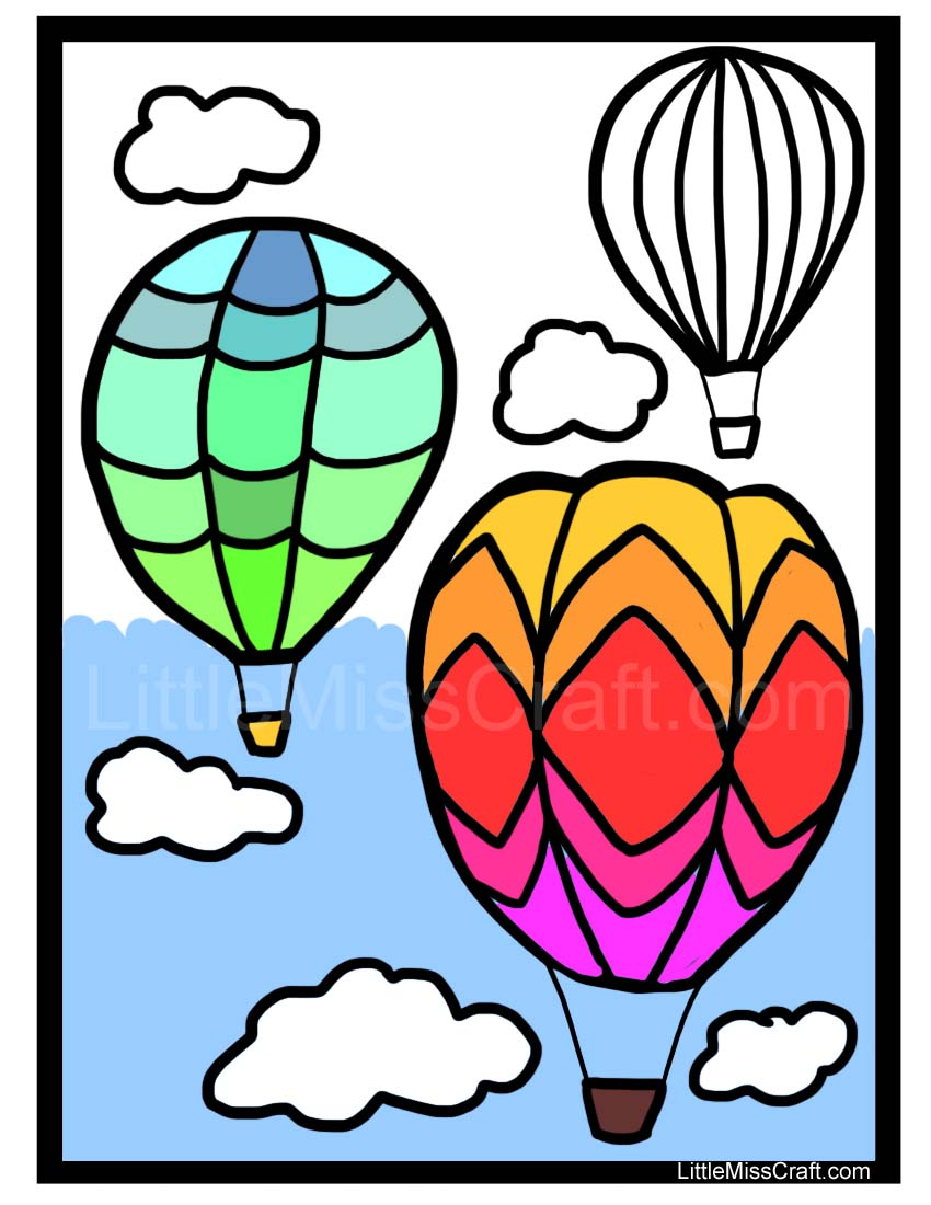 crafts - hot air balloon coloring page - Hot Air Balloon Pictures Color
