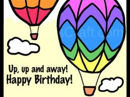 Hot Air Balloon Birthday Coloring Page