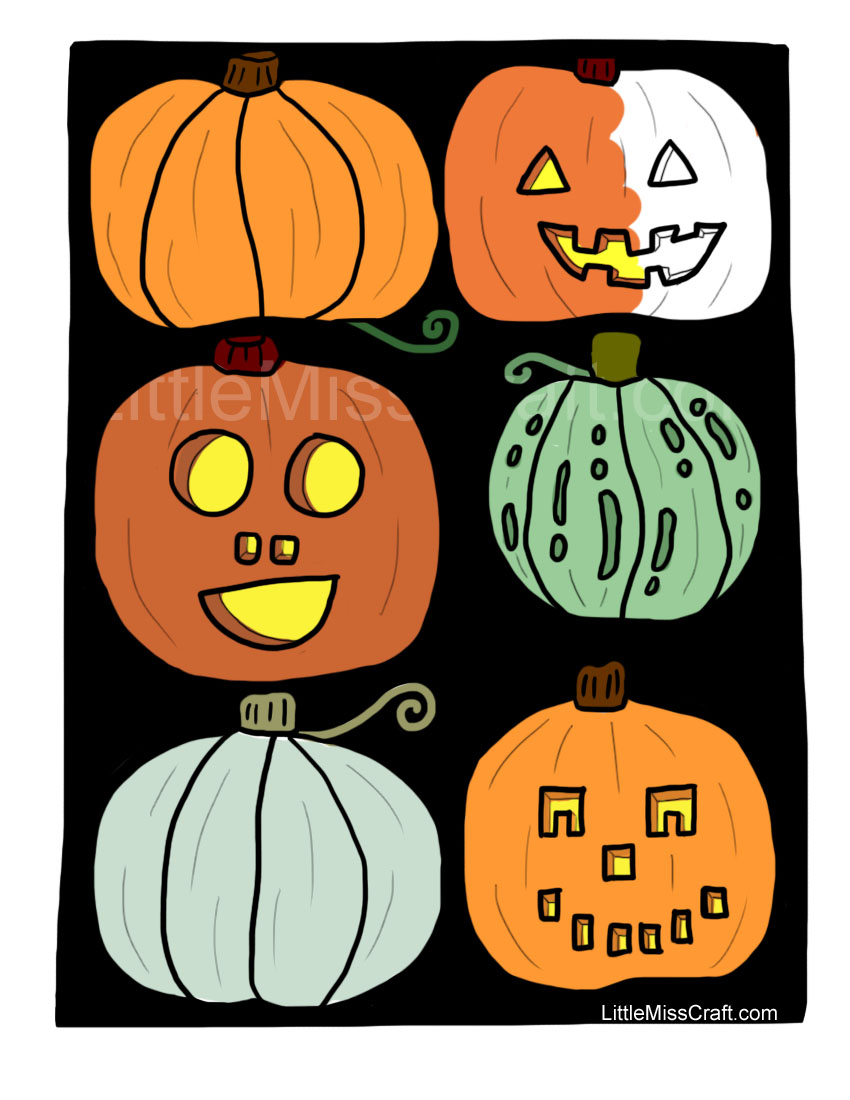 Simple Halloween Pumpkins Coloring Page