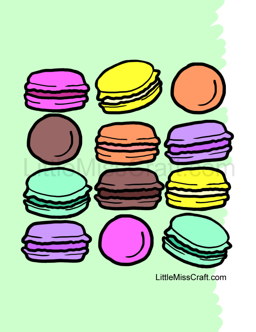 crafts french macarons coloring page