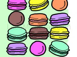 French Macarons Coloring Page
