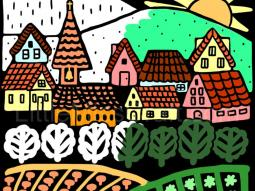 Village Europe Chalkboard Coloring Page