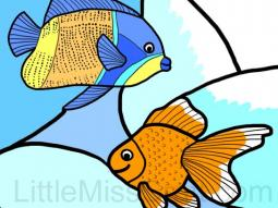 Fish Stained Glass Coloring Page