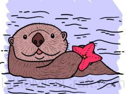 Sea Otter and Starfish Coloring Page