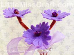 Purple Daisy Felt Flower Craft