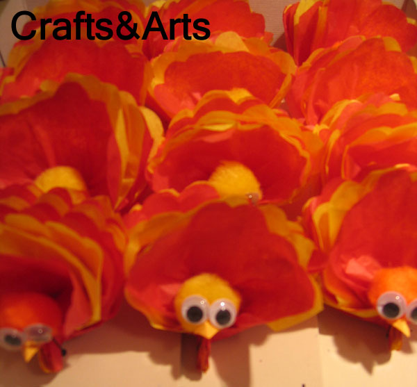 turkey thanksgiving tissue paper pom pom decoration